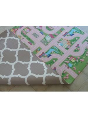 Bumpa Mats (Beige Honeycomb & Pink Car)